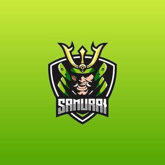 Modello di logo e sport con samurai