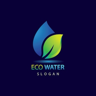 Modello di logo eco acqua