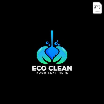 Modello di logo eco casa servizio di pulizia