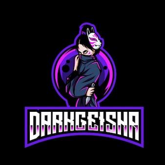 Modello di logo esport geisha scuro