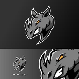 Modello di logo esport nero arrabbiato mascotte rinoceronte sport
