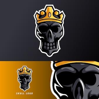 Modello di logo esport teschio nero corona mascotte sport esport per squadra streamer
