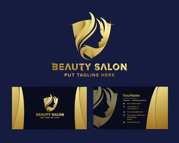 Modello di logo femminile bellezza di lusso premium