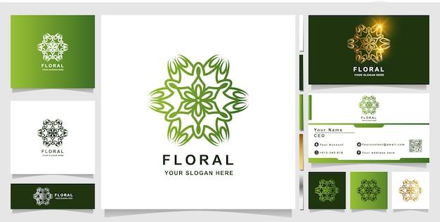 Modello di logo fiore con design biglietto da visita.