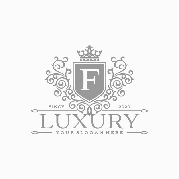 Modello di logo floreale cerchio di lusso araldico in vettoriale per ristorante, famiglia reale, boutique, bar, hotel, gioielli, moda e altro