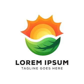 Modello di logo foglia sole