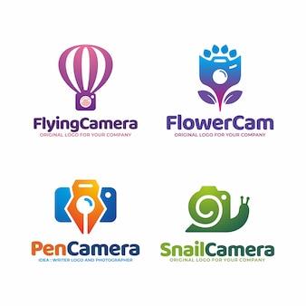 Modello di logo fotocamera creativo unico