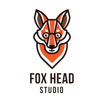 Modello di logo fox head studio