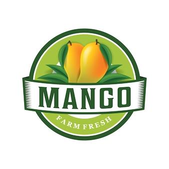 Modello di logo fresco di fattoria di mango