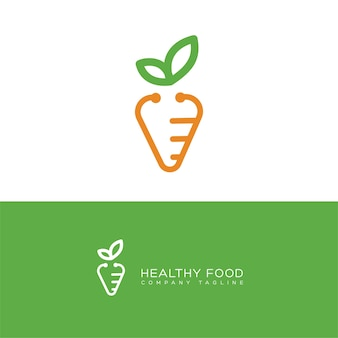 Modello di logo icona cibo sano stetoscopio carota