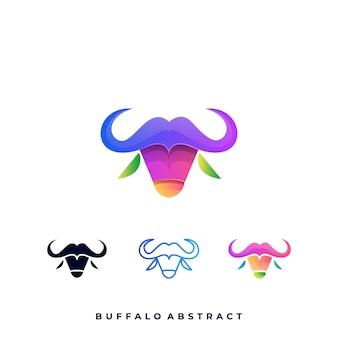 Modello di logo illustrazione buffalo