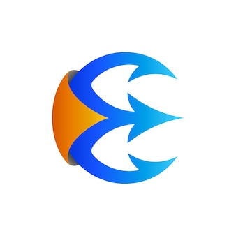 Modello di logo iniziale lettera e trident