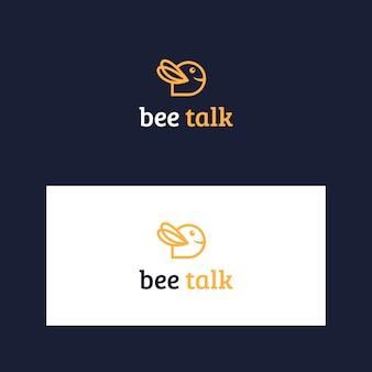 Modello di logo ispiratore ape e parlare