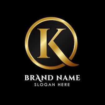 Modello di logo k di lusso lettera in colore oro