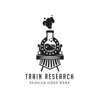 Modello di logo laboratorio nero vecchio treno. stile retrò e vintage