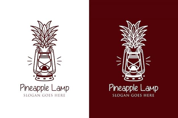 Modello di logo lampada ananas
