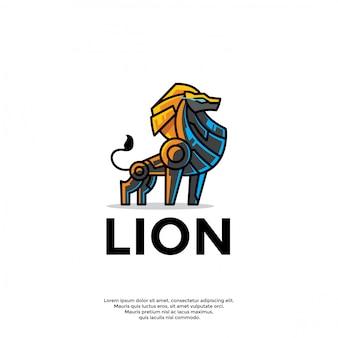 Modello di logo leone robot unico