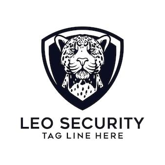 Modello di logo leopardo e scudo
