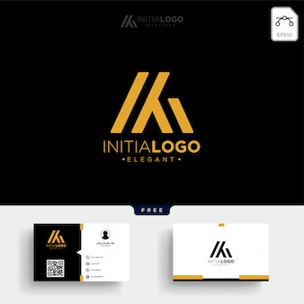 Modello di logo m o km iniziale di lusso oro e premium