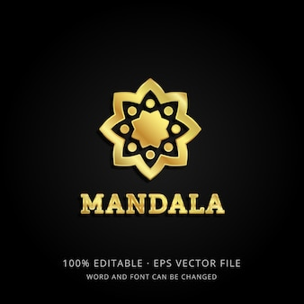 Modello di logo mandala d'oro 3d con testo modificabile