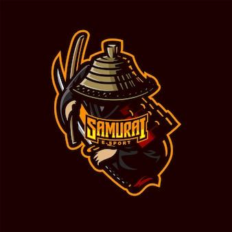 Modello di logo mascotte cavaliere samurai