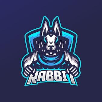 Modello di logo mascotte di gioco esport coniglio