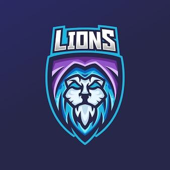 Modello di logo mascotte di gioco esport leone
