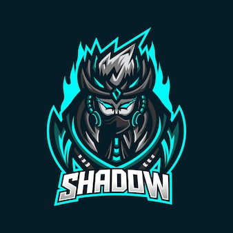 Modello di logo mascotte di gioco ninja esport