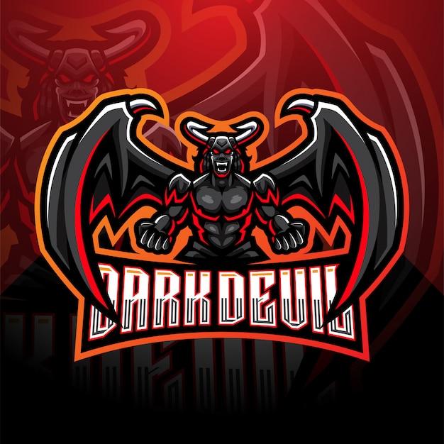 Modello di logo mascotte esport diavolo scuro