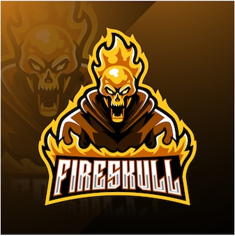 Modello di logo mascotte esport teschio di fuoco