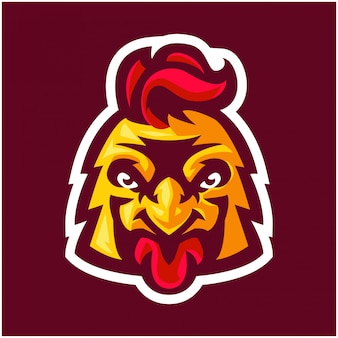 Modello di logo mascotte esport testa di pollo carino e fresco e aspetto forte per varie attività e immagine di marca