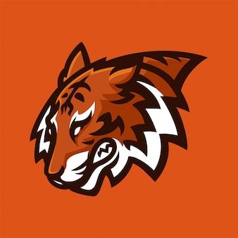 Modello di logo mascotte gioco di esportazione tigre