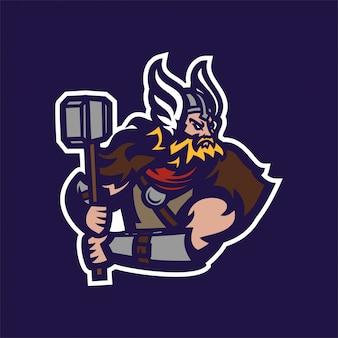 Modello di logo mascotte gioco di vichingo cavaliere barbaro cavaliere