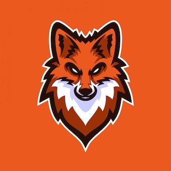 Modello di logo mascotte gioco di volpe esport