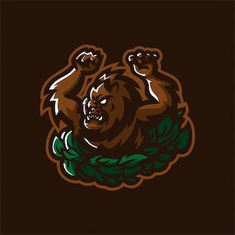 Modello di logo mascotte gioco gorilla esport
