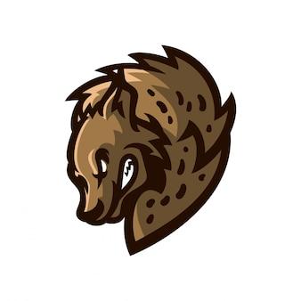 Modello di logo mascotte gioco iena esport