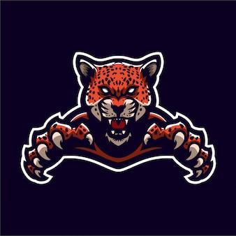 Modello di logo mascotte gioco jaguar leopardo esport