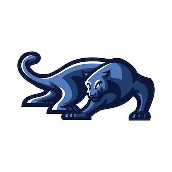 Modello di logo mascotte gioco jaguar / pantera esport