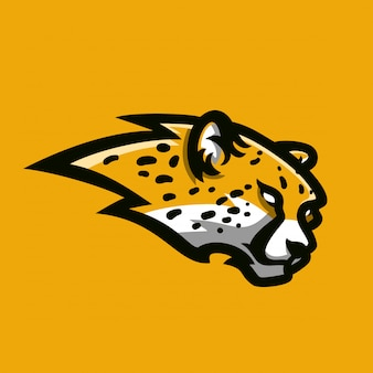 Modello di logo mascotte gioco sport ghepardo