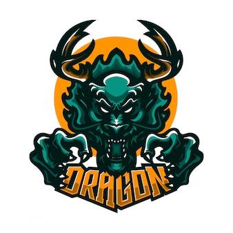 Modello di logo mascotte premium drago
