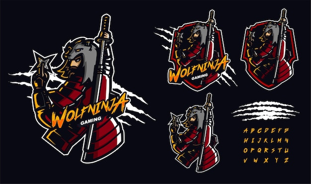 Modello di logo mascotte premium lupo ninja