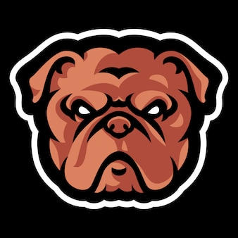 Modello di logo mascotte testa bulldog