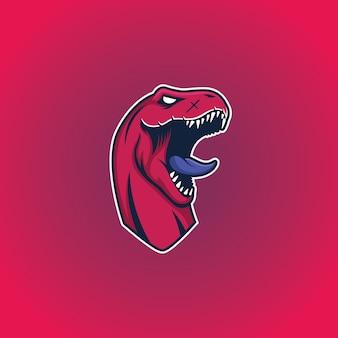 Modello di logo mascotte testa di dinosauro t-rex
