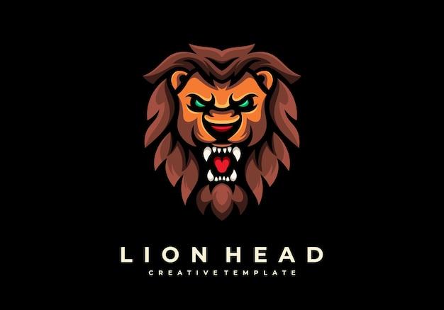 Modello di logo mascotte testa di leone creativo unico