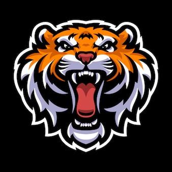 Modello di logo mascotte testa di tigre
