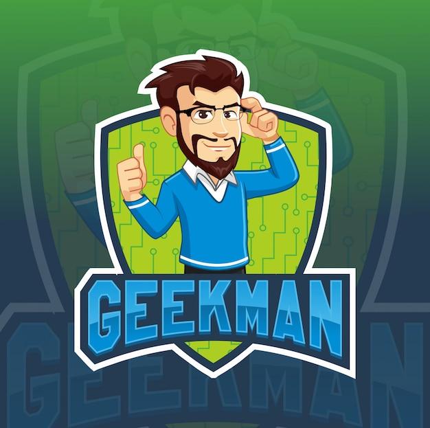 Modello di logo mascotte uomo geek