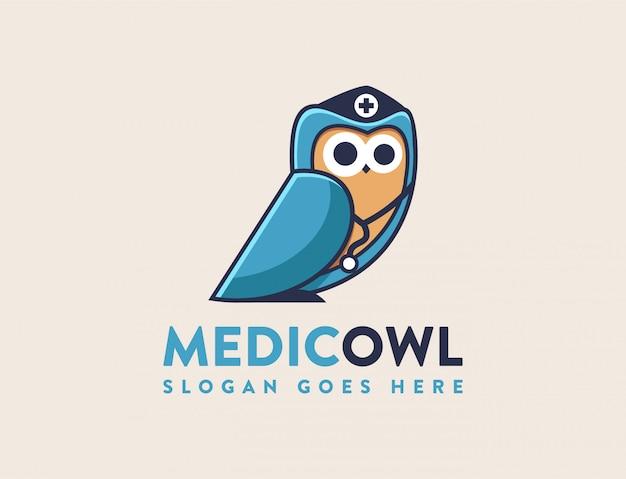 Modello di logo medico gufo
