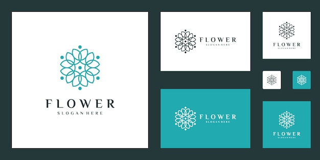 Modello di logo minimalista elegante fiore con stile art linea