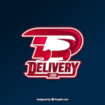 Modello di logo moderno di consegna rosso