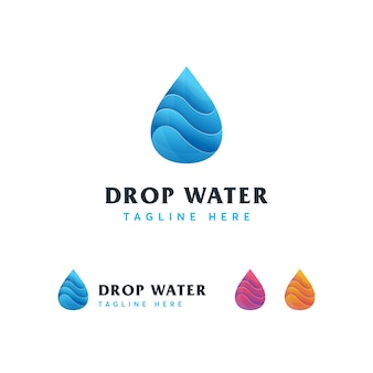 Modello di logo moderno goccia d'acqua